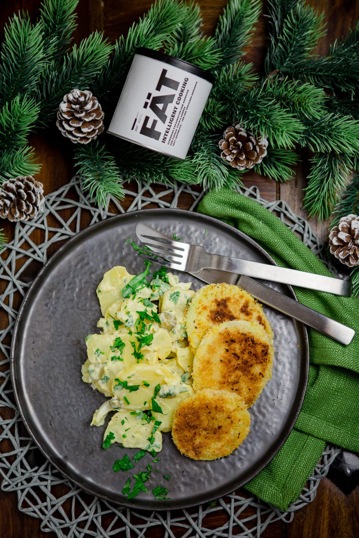 Kartoffelsalat mit Kohlrabischnitzel - www.kuechenchaotin.de