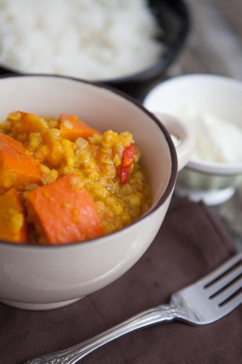 Kuerbis-Curry mit roten Linsen-4