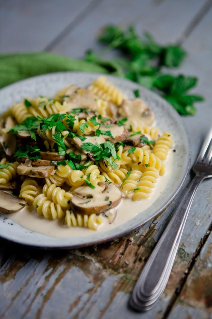 Pasta mit Champignon-Kräuterrahmsauce - www.kuechenchaotin.de