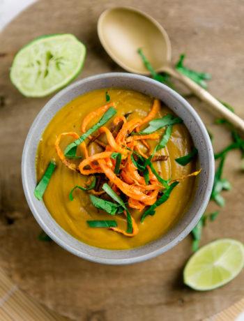 Süßkartoffel Linsen-Suppe Thai Style - https://kuechenchaotin.de